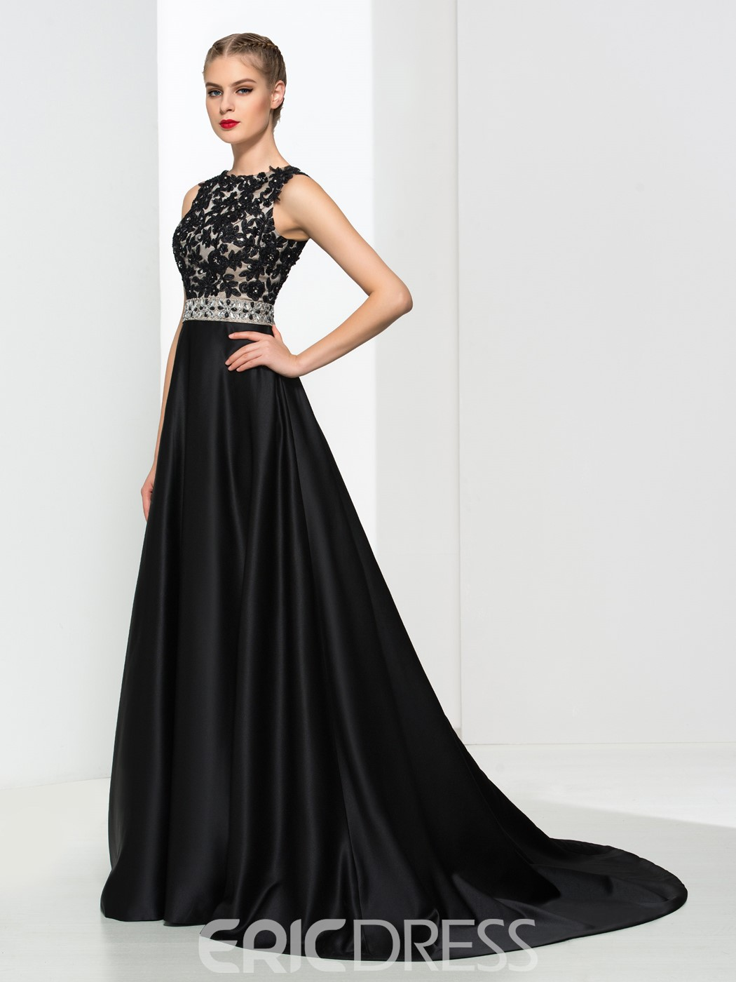 Ericdress A-Line Appliques Beading Backless Evening Dress