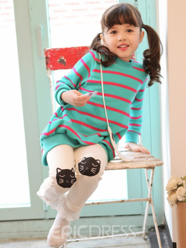 Ericdress Cartoon Stripe Girls Outfit