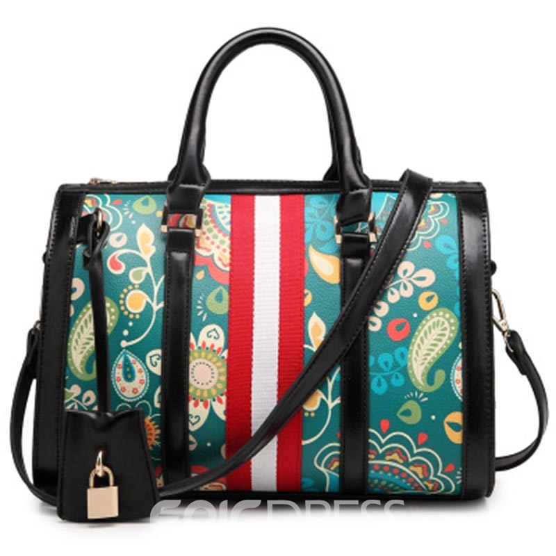 Ericdress Floral PU Korean Pillow Tote Bag