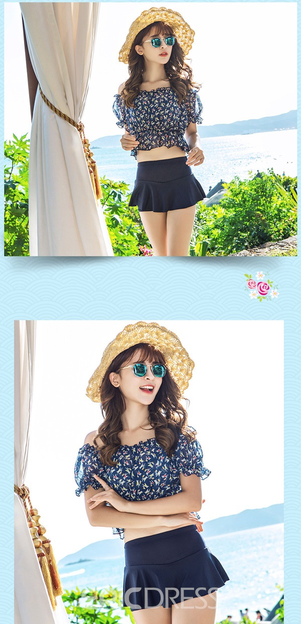 Ericdress Off-the-Shoulder Floral Ruffled Tankini Set