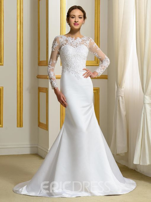Ericdress Pearls Appliques Long Sleeves Mermaid Wedding Dress
