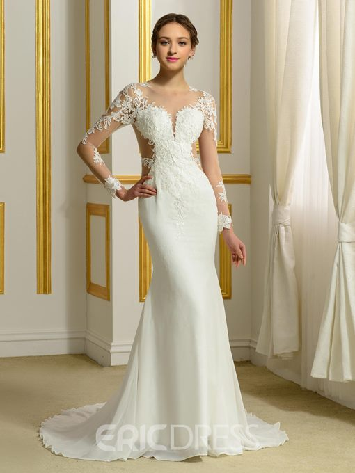Ericdress Sexy Long Sleeves Sheer Neck Mermaid Backless Wedding Dress