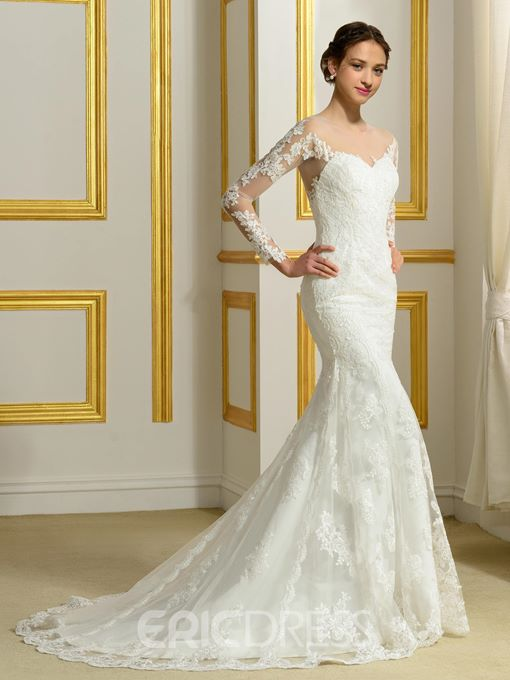 Ericdress Sheer Neck Long Sleeve Mermaid Wedding Dress