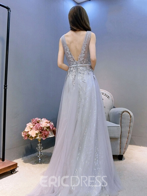 Ericdress Beautiful V Neck Lace Long Bridesmaid Dress