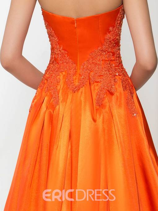 Ericdress Strapless Appliques Beading Split-Front Prom Dress