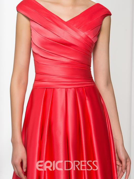 Ericdress A-Line V-Neck Pleats Long Prom Dress