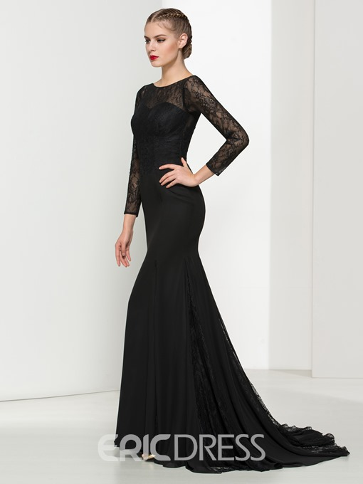 Ericdress Mermaid Long Sleeves Backless Lace Evening Dress