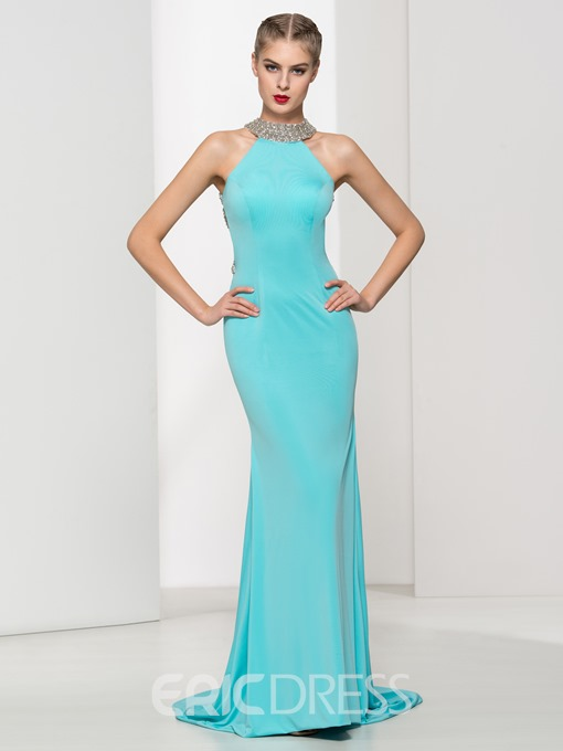 Ericdress Sheath Beading Hollow Backless Evening Dress