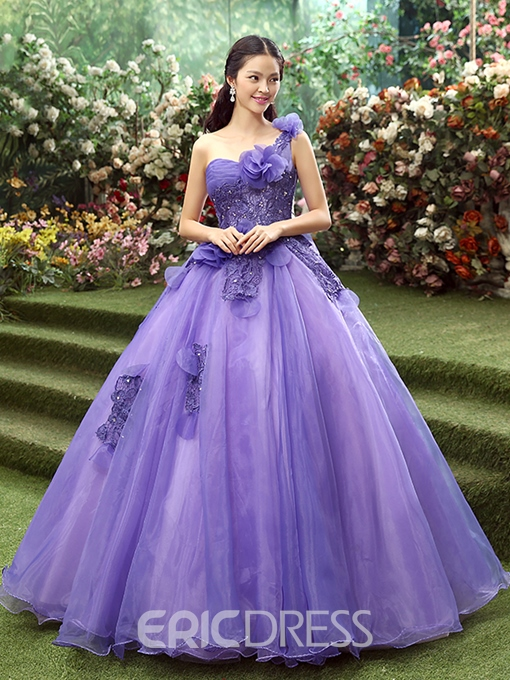 Ericdress Flowers One Shoulder Pleated Beading Ball Quinceanera Dress