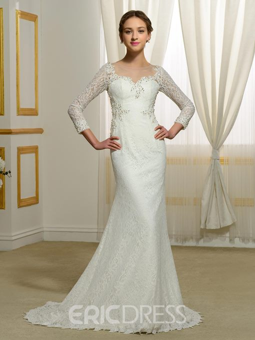 Ericdress Pearl Lace Mermaid Wedding Dress with Sleeves