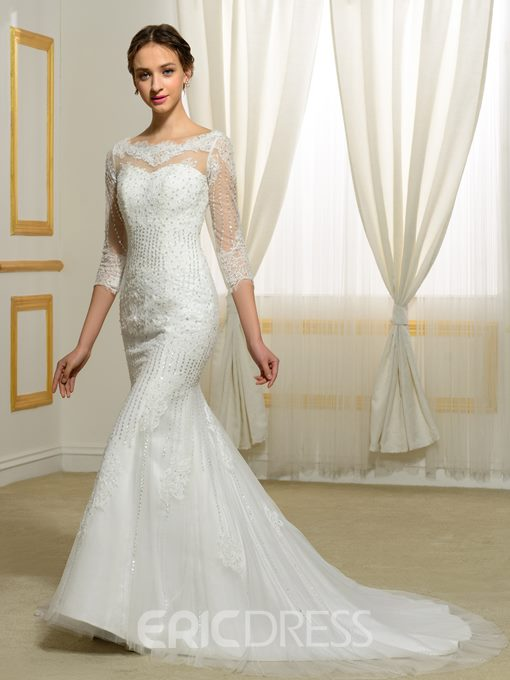 Eridress Sequins Beading Appliques Mermaid Wedding Dress