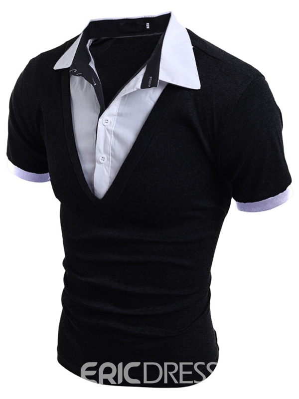 Ericdress Double-Layer Short Sleeve Casual Men's T-Shirt