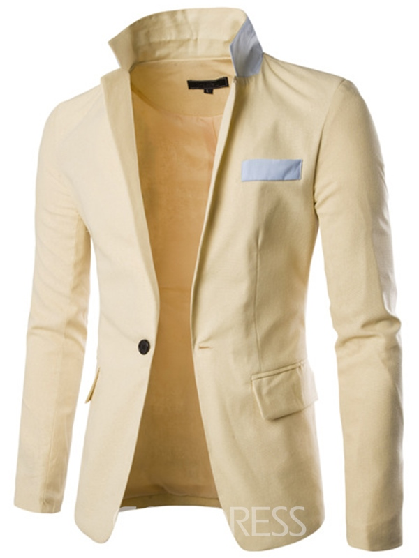 Ericdress Patchwork Stand Collar Slim Solid Color Men's Blazer