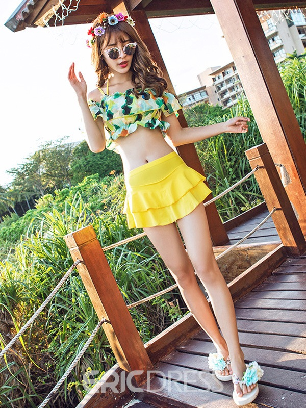 Ericdress Chiffon Off-the-Shoulder Floral Tankini Set