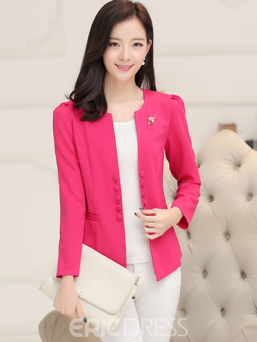 Ericdress Solid Color Double-Breasted Round Neck Blazer