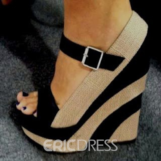 f70280b94e6 Ericdress Buckles Decorated Oen Toe Wedge Sandals