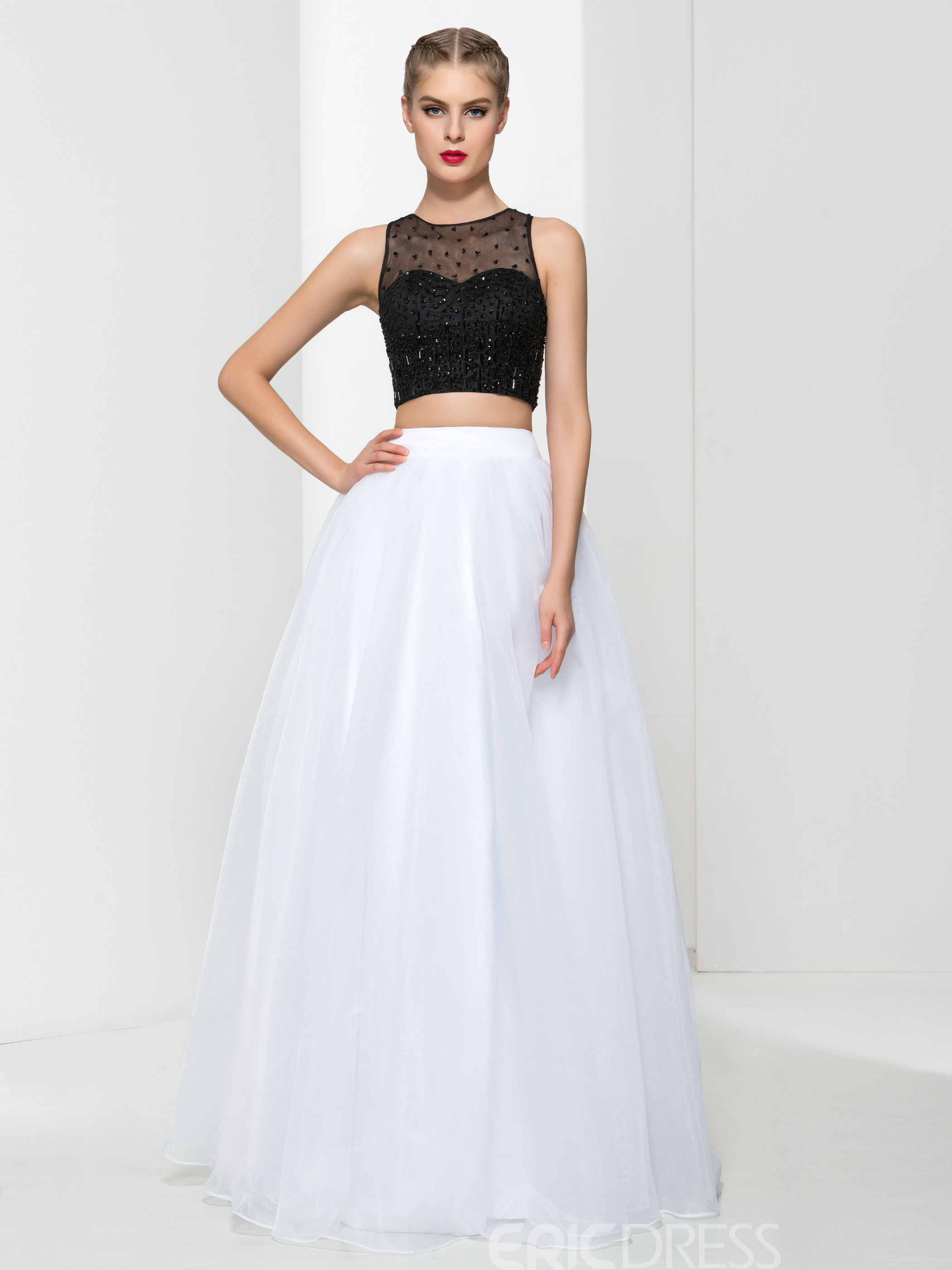 Ericdress A-line Two Pieces Beading Prom Dress