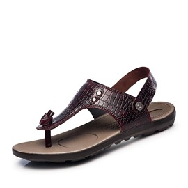 Ericdress Embossed PU Thong Flat Sandals