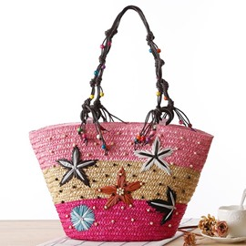 Ericdress Bohemian Starfish Embroidery Straw Handbag