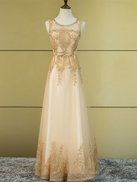 Ericdress Fancy A Line Scoop Neck Applique Beaded Floor Length Prom Dress