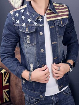 Ericdress Patchwork Casual Print Men's Denim Jacket