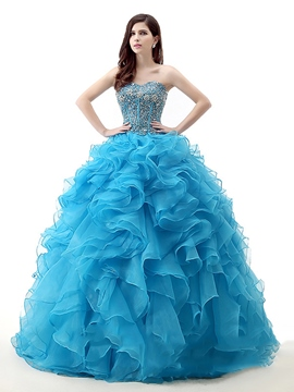 Ericdress Sweetheart robe boule perles Lace-Up robe de Quinceanera