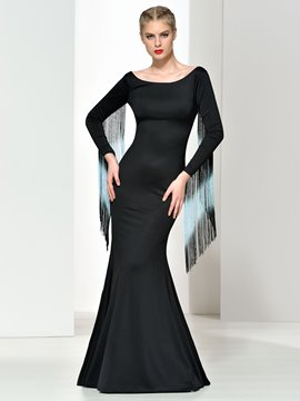 Ericdress Sheath Long Sleeves Tassel V Back Evening Dress