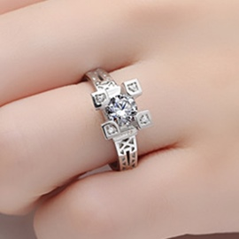 Ericdress Eiffel Tower Platinum NSCD Diamond Ring