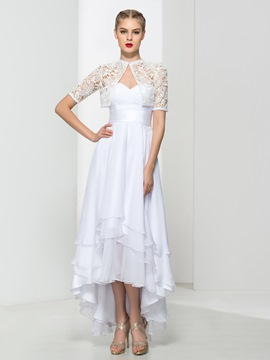 Ericdress Pleats Tiered Asymmetry Prom Dress With Lace Jacket/Shawl
