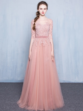 Ericdress A-Line Bateau Neck Appliques Lace Floor-Length Prom Dress