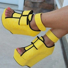 Ericdress Yellow Wedge Sandals with Bowtie