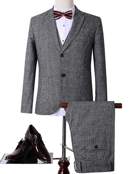 Ericdress Gray Plaid Three-Piece Classic Men's Suit