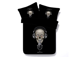 Rock Singer Skull Printed Cotton 4-Piece 3D Black Bedding Sets/Duvet Covers
