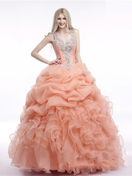 Ericdress Straps Ball Ruffles Floor-Length Quinceanera Dress With Beadings