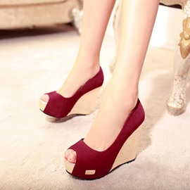 Ericdress Popular Suede Peep Toe Wedge Sandals