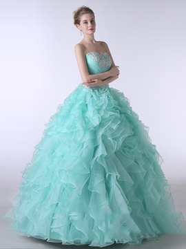 Ericdress Sweetheart Ball Gown Beading Ruffles Floor-Length Quinceanera Dress