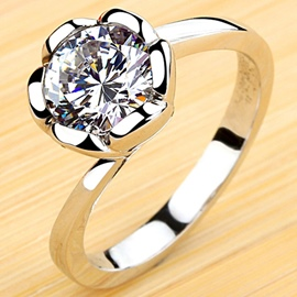 Ericdress Lotus Design Diamond Inlaid Silver Ring