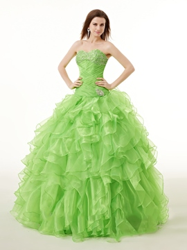 Ericdress Sweetheart Ball Gown Ruffles Beading Floor-Length Quinceanera Dress