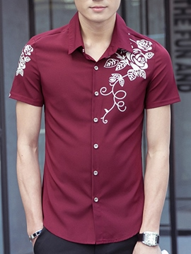 Ericdress Floral Print Short Sleeve Men's Shirt