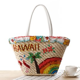 Ericdress Hawaii Coconut Tree Rainbow Weaved Handbag