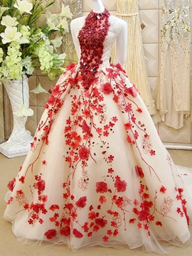 Ericdress Luxurious Flowerrs Beading Sleeveless Sweep Train Floor Length Ball Quinceanera Dress