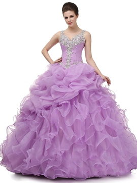 Ericdress Straps Ball Gown Appliques Beading Floor-Length Quinceanera Dress