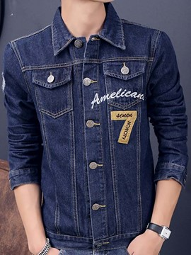 Ericdress Embroidery Patchwork Casual Denim Men's Jacket