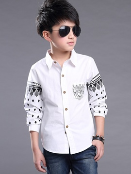 Ericdress Lapel Print Boys Shirt