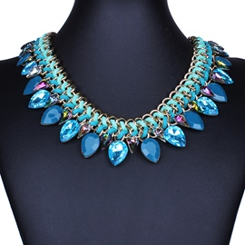 Ericdress Exaggerate Crystal Weaved Necklace