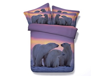 A Family of Polar Bear Printed Cotton 4-Piece 3D Bedding Sets/Duvet Covers