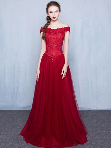 Ericdress Off-the-Shoulder A-Line Appliques Floor-Length Prom Dress