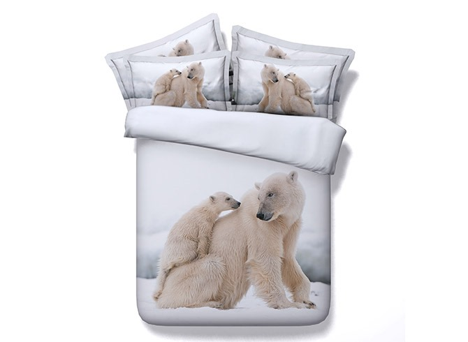 Polar Bear Mother and Cub Printed Cotton 3D 4-Piece Bedding Sets/Duvet Covers