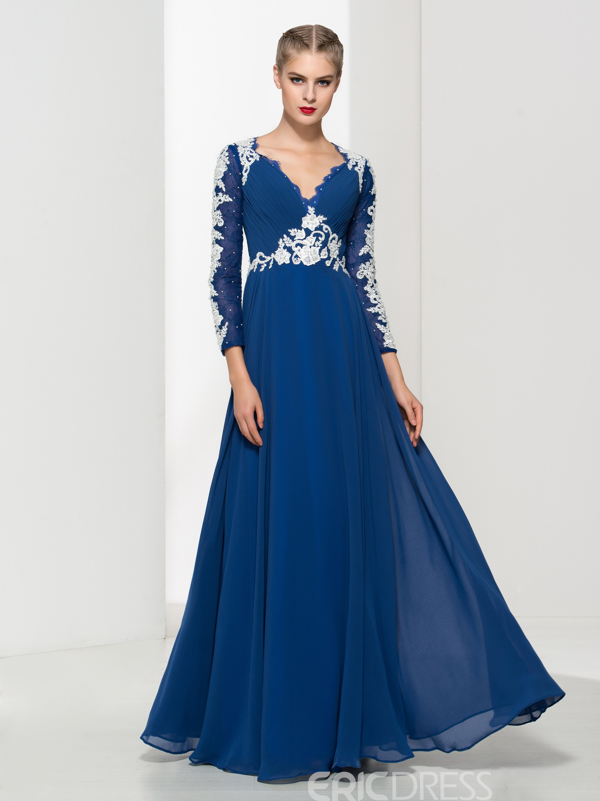f3785e97a2eed2 Ericdress V Neck Appliques Pleats Evening Dress