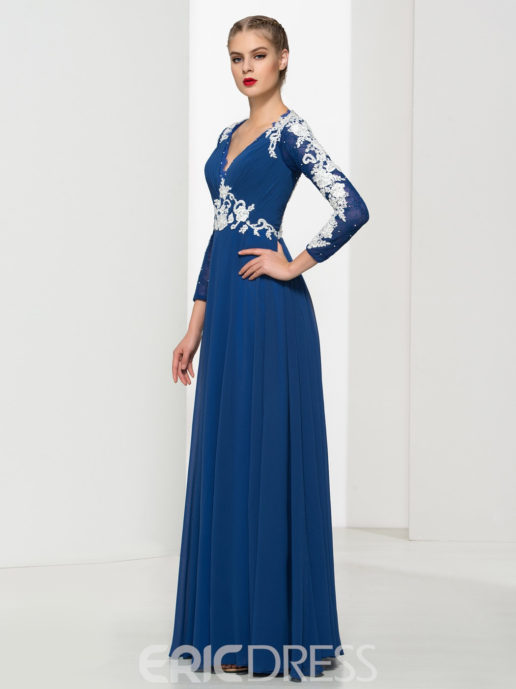 Ericdress V Neck Appliques Pleats Evening Dress